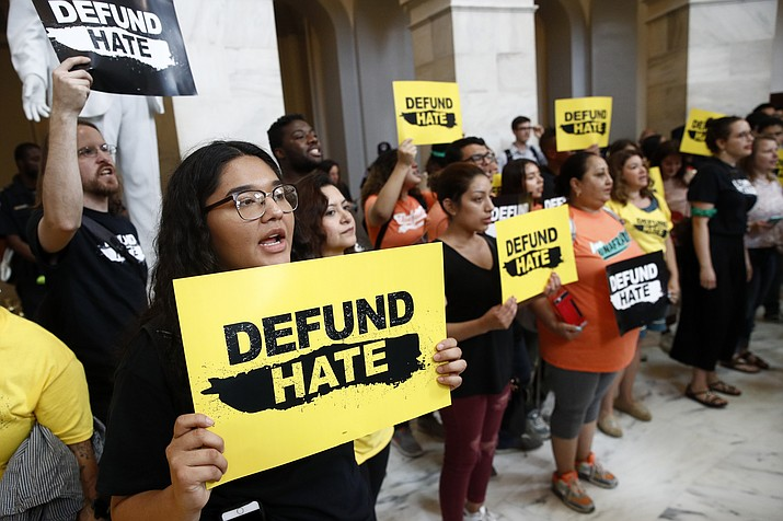 Protesters gather to demand the defunding of government agencies for border protection and customs enforcement, Tuesday, June 25, 2019, on Capitol Hill in Washington. (Patrick Semansky/AP)