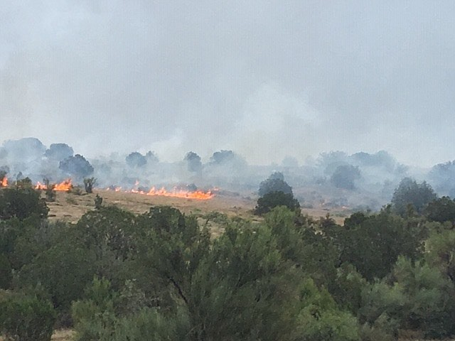 Sedona Fire Department and U.s. Forest Service firefighters battle an 8-acre wildfire in Sedona July 22. (Sedona Fire/photo)