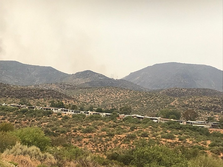 Gila County authorities have lifted the evacuation order for all Roosevelt area residents displaced last week by the human-caused Woodbury Fire burning in the Superstition Mountains. (Tonto National Forest Facebook Page/Courtesy)