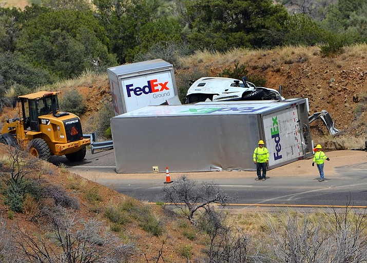 An overturned FedEx truck is responsible for the traffic delays in the Northbound lane of Interstate 17 near Camp Verde on Tuesday, June 25, 2019. (Vyto Starinskas/Verde Independent)
