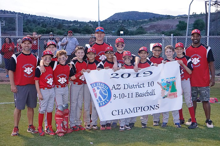 The Prescott Valley All-Stars pose for a photo after claiming the District 10 11U All-Stars Tournament championship with a 9-8 win over Prescott on Tuesday, June 25, 2019, in Prescott. (Aaron Valdez/Courier)