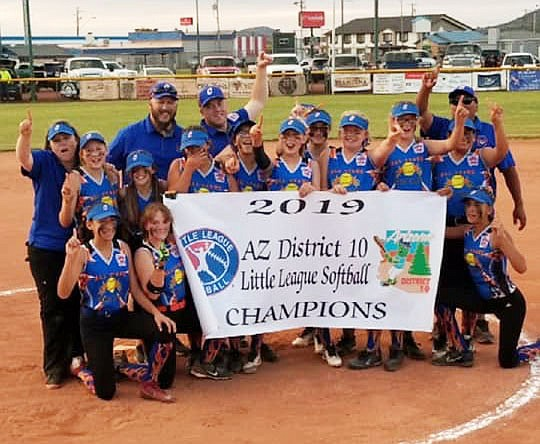Members of the Chino Valley All-Stars pose for a photo after defeating the Williams All-Stars 4-3 to claim the District 10 Majors Softball All-Stars Tournament on Tuesday, June 25, 2019, in Williams. With the win, Chino Valley heads to state, which begins Friday, July 5, in Cottonwood. Watch dCourier.com for more. (Chino Valley Little League/Courtesy)