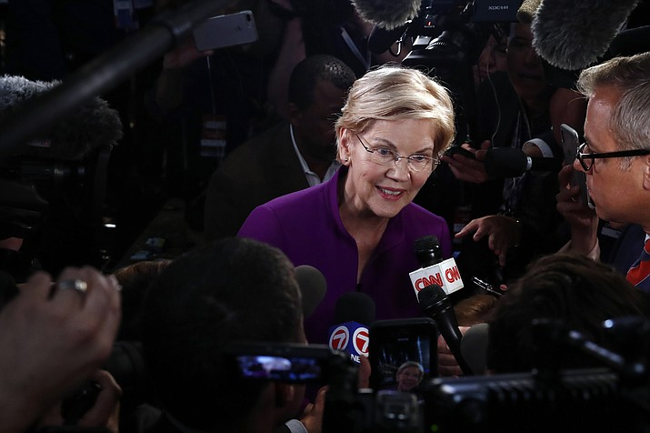 Democratic presidential candidate Sen. Elizabeth Warren, D-Mass., answers questions after a Democratic primary debate hosted by NBC News at the Adrienne Arsht Center for the Performing Arts, Wednesday, June 26, 2019, in Miami. (Brynn Anderson/AP)