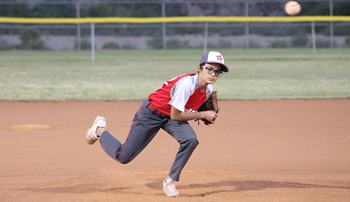 Taelon Thomason tallied six strikeouts in five innings of work Wednesday night as Kingman picked up a 14-7 win over Kingman North during the 10-12 All Stars Tournament. (Photo by Beau Bearden/Daily Miner)