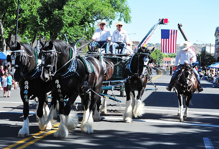 The Diamond Z English Shire horses were a big hit during last year's annual Prescott Frontier Days Parade through the downtown Prescott. The 2019 parade begins at 9 a.m. Saturday, July 6. Admission is free. (Les Stukenberg/Courier, file)