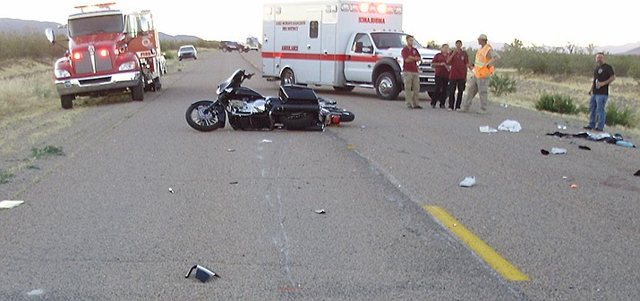 The two motorcycle operators involved in this collision were flown to a Las Vegas hospital with road rash and lacerations. Both riders were wearing helmets. (Photo courtesy Mohave County Sheriff's Office)