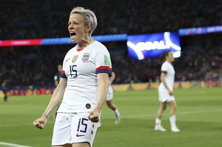 United States' Megan Rapinoe celebrates after scoring her side's second goal during the Women's World Cup quarterfinal between France and the United States at the Parc des Princes, in Paris, Friday, June 28, 2019. (Francisco Seco/AP)