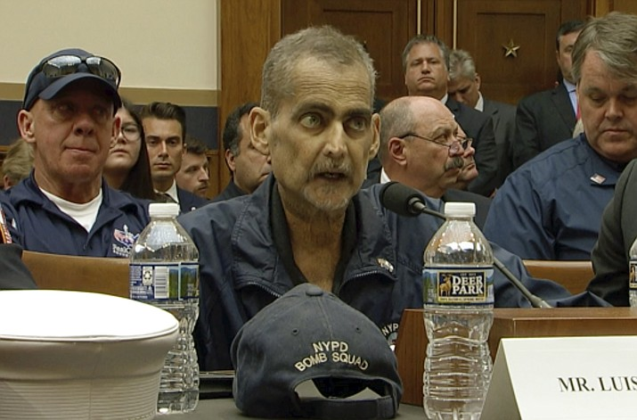 This still image taken from video shows Retired NYPD Detective and 9/11 Responder, Luis Alvarez speaks during a hearing by the House Judiciary Committee as it considers permanent authorization of the Victim Compensation Fund, on Capitol Hill in Washington, Tuesday, June 11, 2019. (US Network Pool via AP, Pool)