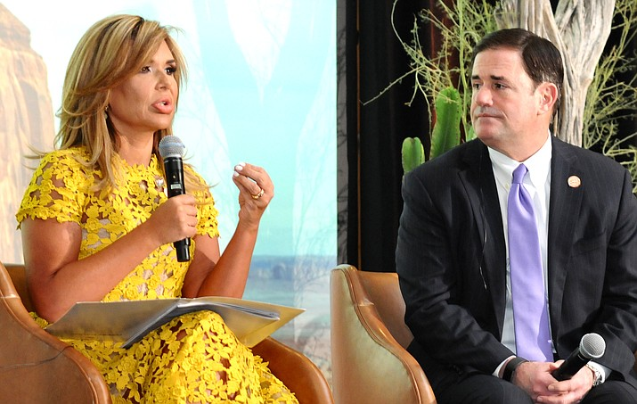 Sonora Gov. Claudia Pavlovich discusses the impact of talk of tariffs and border closures have on the area economy Friday with Arizona Gov. Doug Ducey at the annual meeting of the Arizona-Mexico Commission. (Capitol Media Services photo by Howard Fischer)