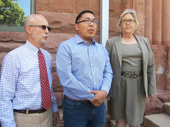 Tremayne Nez (center) speaks to the press June 28 at Flagstaff Superior Courthouse in Flagstaff regarding his recent arrest in a drug sting by law enforcement. Nez was incorrectly identified during the arrest and spent 30 hours in jail. (Katherine Locke/NHO)