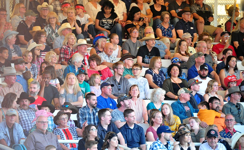 A large crowd on hand for the first performance of the Prescott Frontier Days Rodeo Monday July 1, 2019.  (Les Stukenberg/Courier)