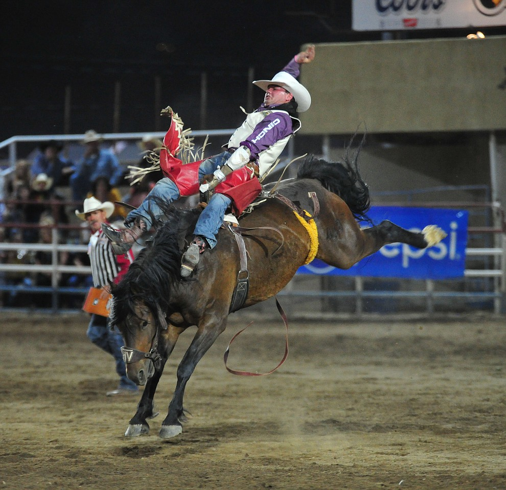 Shane O'Connell scores 81.5 on Frisky Chicken in the bareback riding during the first performance of the Prescott Frontier Days Rodeo Monday July 1, 2019.  (Les Stukenberg/Courier)