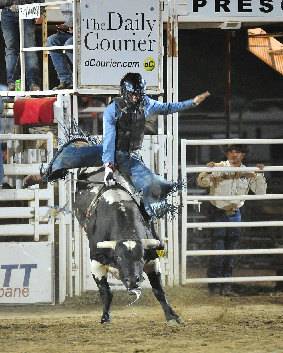 Trey Kimzey scores 76 on Slow and Easy in the bull riding during the first performance of the Prescott Frontier Days Rodeo Monday July 1, 2019.  (Les Stukenberg/Courier)