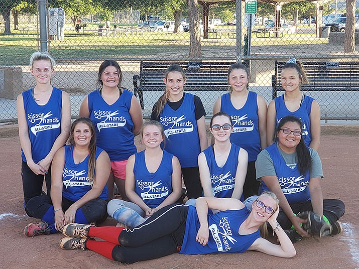 Scissor Hands Salon girls 13-18 fast pitch softball All Stars beat Lee's Uniforms 14-1 on Saturday, June 29, 2019 in the second annual Kingman NSA All Star Game. The squad included Kaitlyn Whittington, Norasia Fielding, Elizabeth Samson, Teegan Loos, Autumn Roth, Amme Benson, Kourtney Carley, Jillian Mitchell, Erin Southwick, Amber Lopez, Marisela Abrego, Madi Bell, and Gaje Coffman. The team was coached by Tawney Coffman, Dan Spivey, William Bell, Jonny Meins, and Brandon Loos. (Courtesy)