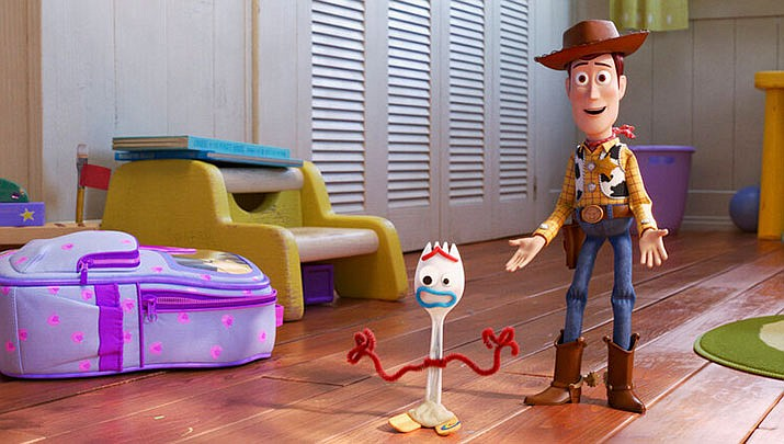 "Image provided by Disney/Pixar shows a scene from the movie ""Toy Story 4."" (Disney/Pixar via AP)"