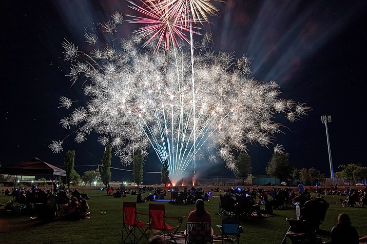 This file photo shows a Fourth of July fireworks show in 2016. Fireworks are expected this year Thursday, July 4, 2019, unless there are heavy winds that won't die down by the time they're set to go off. (Town of Chino Valley/Courtesy)
