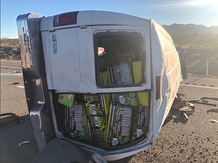 The van involved in the single-vehicle fatal crash was transporting illegal fireworks, according to Nevada Highway Patrol. (NHP photo)