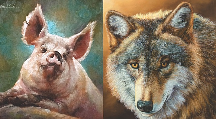 """Left, Mary Rochelle Burnham's charming painting titled """"Ready for My Closeup"""" will be featured at the Jerome Artist's Cooperative. Right, Jim Todd's detailed and lifelike painting titled """"Waya"""" will be featured at the Jerome Artist's Cooperative."""