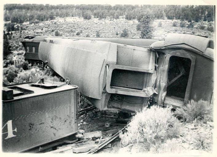 Train cars are turned over next to the railroad track outside of Williams after a train wreck circa 1940s. (Photo/Williams Historic Photo Archive)