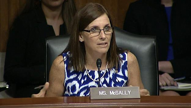 Sen. Marth McSally speaks on the importance of the Land and Water Conservation Fund during a U.S. Senate Committee on Energy and Natural Resources hearing June 25. A Republican opponent has entered the fray to challenge her in the primary for her Senate seat. (Office of U.S. Sen. Marth McSally photo)