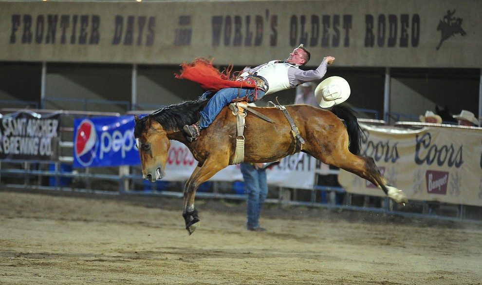 Trey Moore III on Molly V in the bareback riding during the second performance of the Prescott Frontier Days Rodeo Tuesday July 2, 2019.  (Les Stukenberg/Courier)