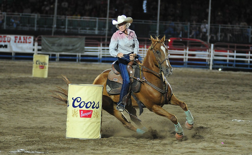 Mary Dolven ran an 18.65 in the barrel race during the second performance of the Prescott Frontier Days Rodeo Tuesday July 2, 2019.  (Les Stukenberg/Courier)