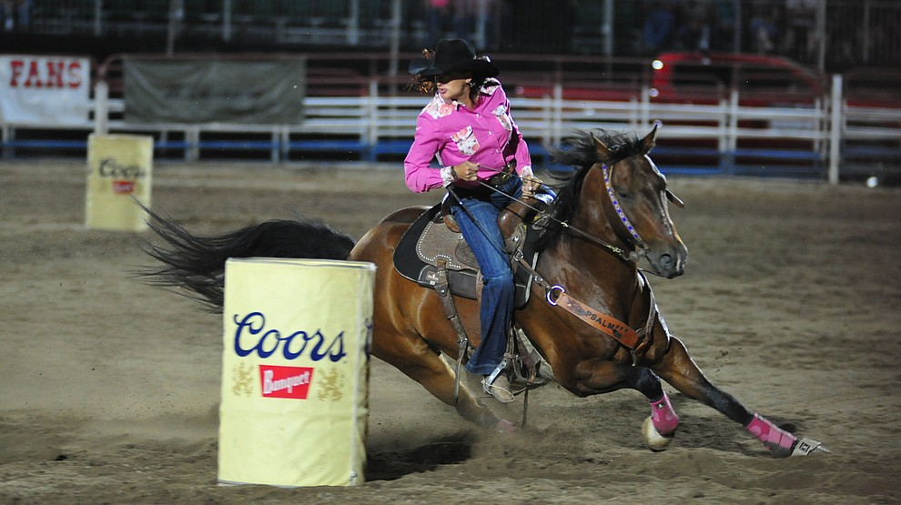 Allison Resor in the barrel race during the second performance of the Prescott Frontier Days Rodeo Tuesday July 2, 2019.  (Les Stukenberg/Courier)