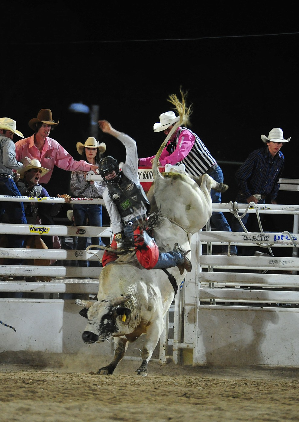 Chase Hamlin on Floating Fury in the bull riding during the second performance of the Prescott Frontier Days Rodeo Tuesday July 2, 2019.  (Les Stukenberg/Courier)