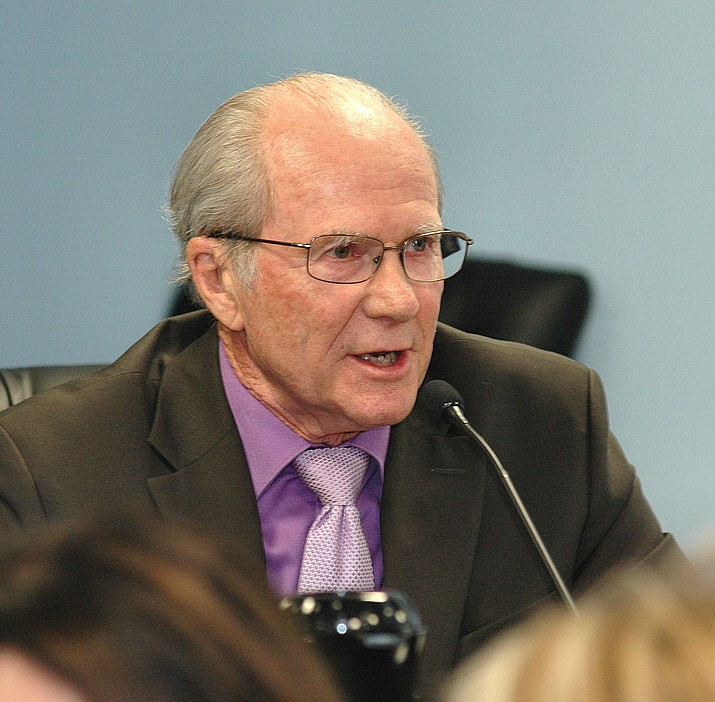 Arizona Corporation Commission regulator Bob Burns does not necessarily agree with Lea Marquez Peterson that the ACC could possibly have had any wrongdoing when a 72-year-old woman died due to heat-related causes when her power was turned off. Burns says it is all APS' fault. (Capitol Media Services 2017 file photo by Howard Fischer)