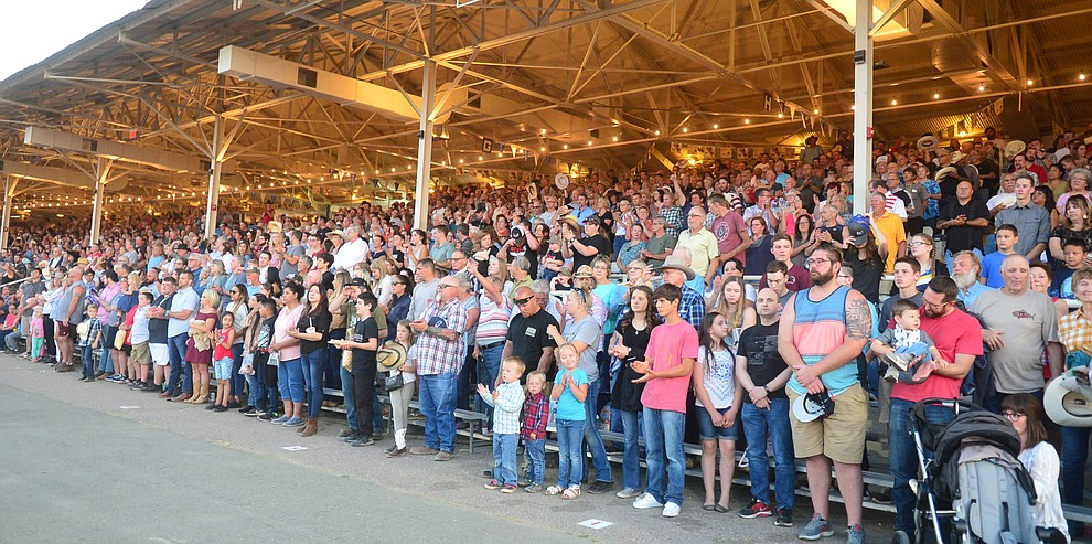 A capacity crowd was onhand for the third performance of the Prescott Frontier Days Rodeo Wednesday July 3, 2019.  (Les Stukenberg/Courier)
