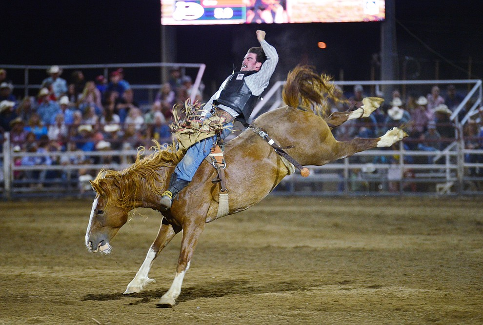 Hunter Carter on Buckle Up in the bareback riding during the third performance of the Prescott Frontier Days Rodeo Wednesday July 3, 2019.  (Les Stukenberg/Courier)