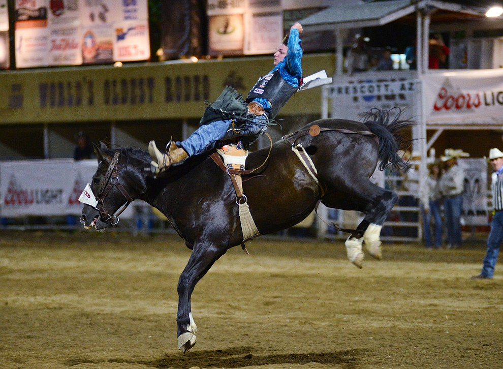 Mark Kreder on Slick during the third performance of the Prescott Frontier Days Rodeo Wednesday July 3, 2019.  (Les Stukenberg/Courier)
