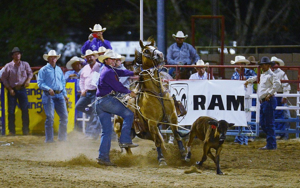Quade Hiatt in the tie down roping during the third performance of the Prescott Frontier Days Rodeo Wednesday July 3, 2019.  (Les Stukenberg/Courier)