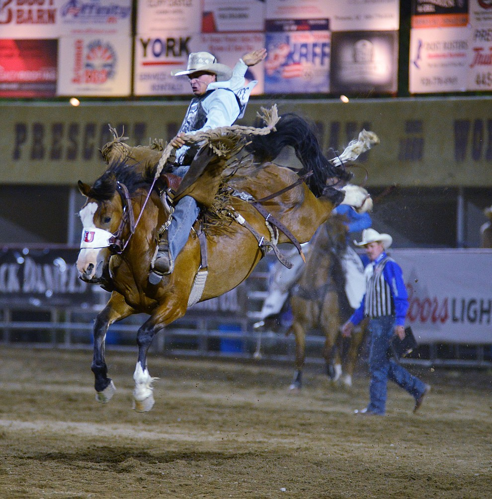 Mason Mardesich on Vegas Strip in the Saddle Bronc Riding during the third performance of the Prescott Frontier Days Rodeo Wednesday July 3, 2019.  (Les Stukenberg/Courier)