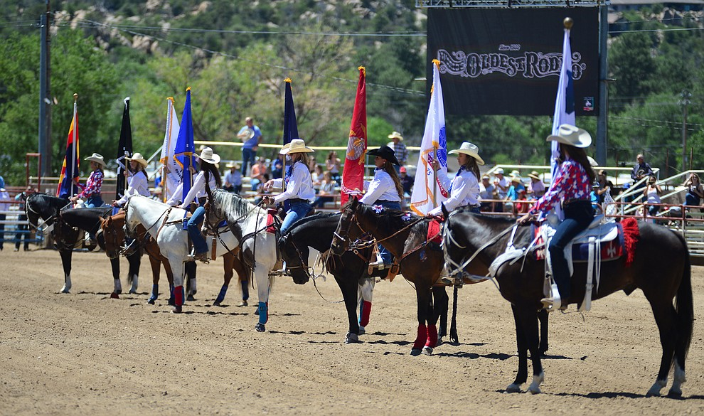 Service members from all the branches of the military branches were honored during the fourth performance of the Prescott Frontier Days Rodeo Thursday July 4, 2019.  (Les Stukenberg/Courier)