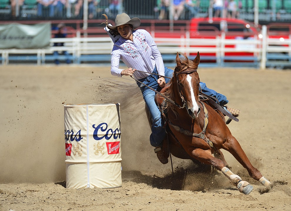 Amanda Thorpe in the barrel racing during the fourth performance of the Prescott Frontier Days Rodeo Thursday July 4, 2019.  (Les Stukenberg/Courier)