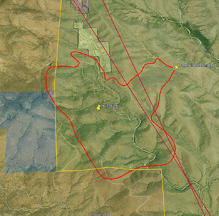 Marked in red, the perimeter of the Orme Fire as of Friday morning, July 5, 2019. (PNF/Courtesy)