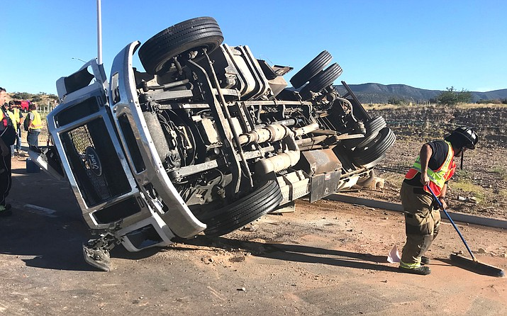 The east-bound lane of Arizona 260 between Cottonwood and Camp Verde was closed for about two hours July 3 following a construction vehicle rollover. Photo courtesy Copper Canyon Fire and Medical District