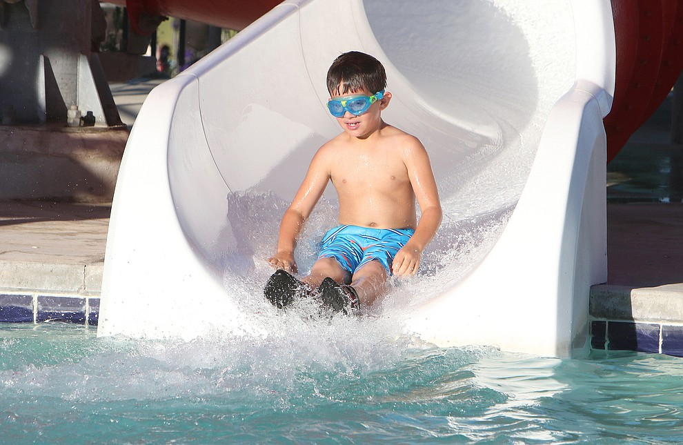Jaxon Carver (7 yr old) took advantage of the free swim day at the Aquatic Center durng the July 4th event in Chino Valley.