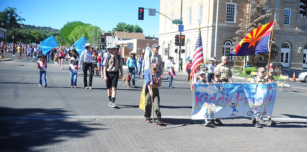 The 78th annual Kiwanis Kiddie Parade starts along Cortez Street in downtown Prescott Friday July 5, 2019.  (Les Stukenberg/Courier)