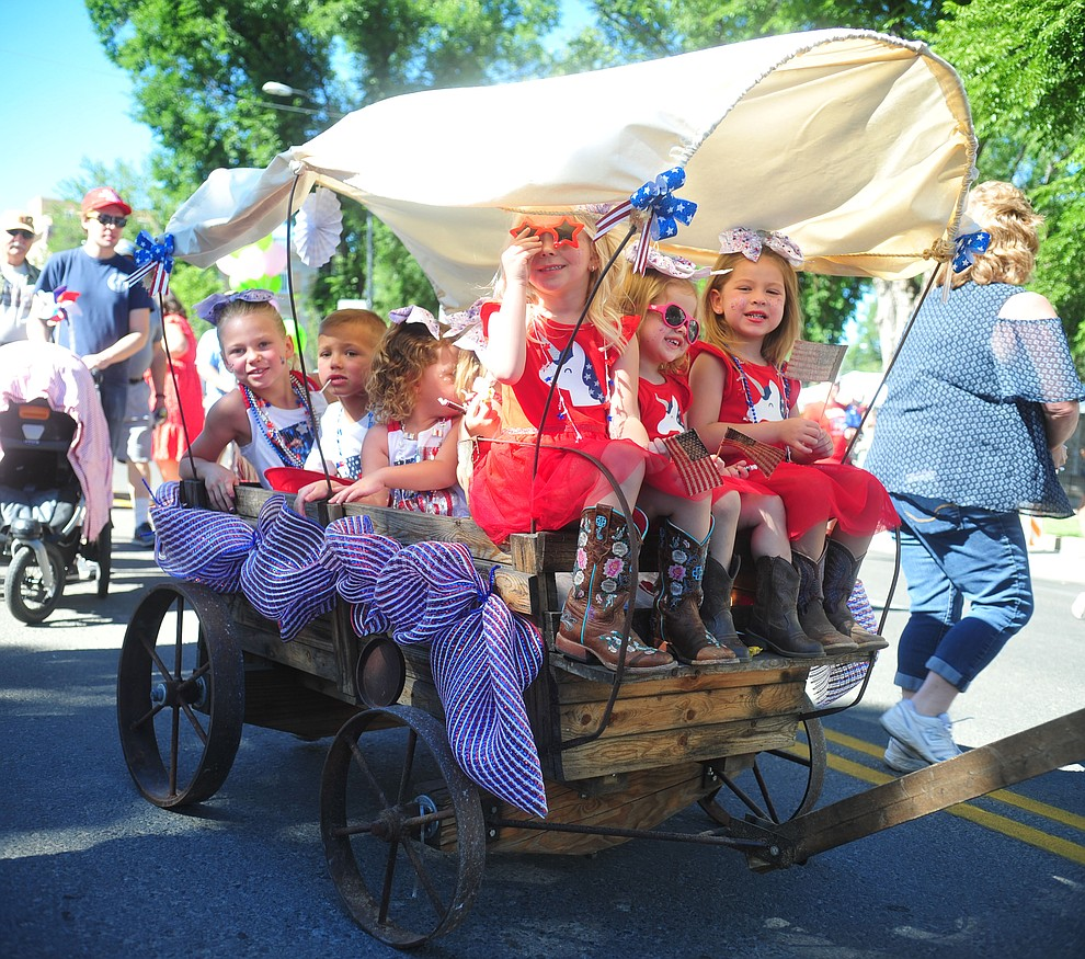 The Weedon family during the 78th annual Kiwanis Kiddie Parade along Cortez Street in downtown Prescott Friday July 5, 2019.  (Les Stukenberg/Courier)