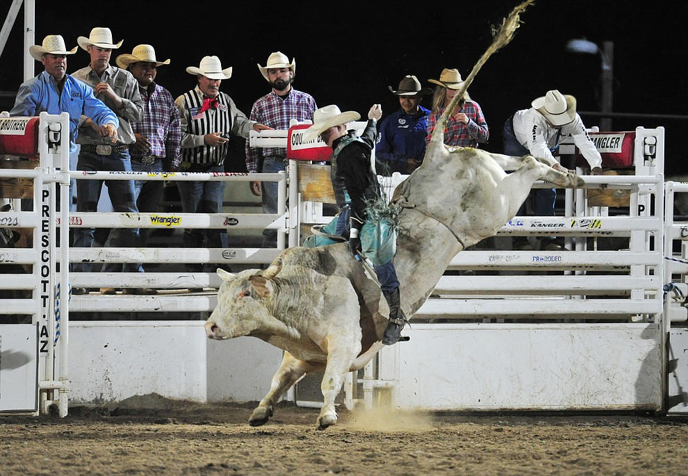 Clayton Sellers on Diamond Cutter in the bull riding during the 5th performance of the Prescott Frontier Days Rodeo at the Prescott Rodeo grounds Friday July 5, 2019.  (Les Stukenberg/Courier)