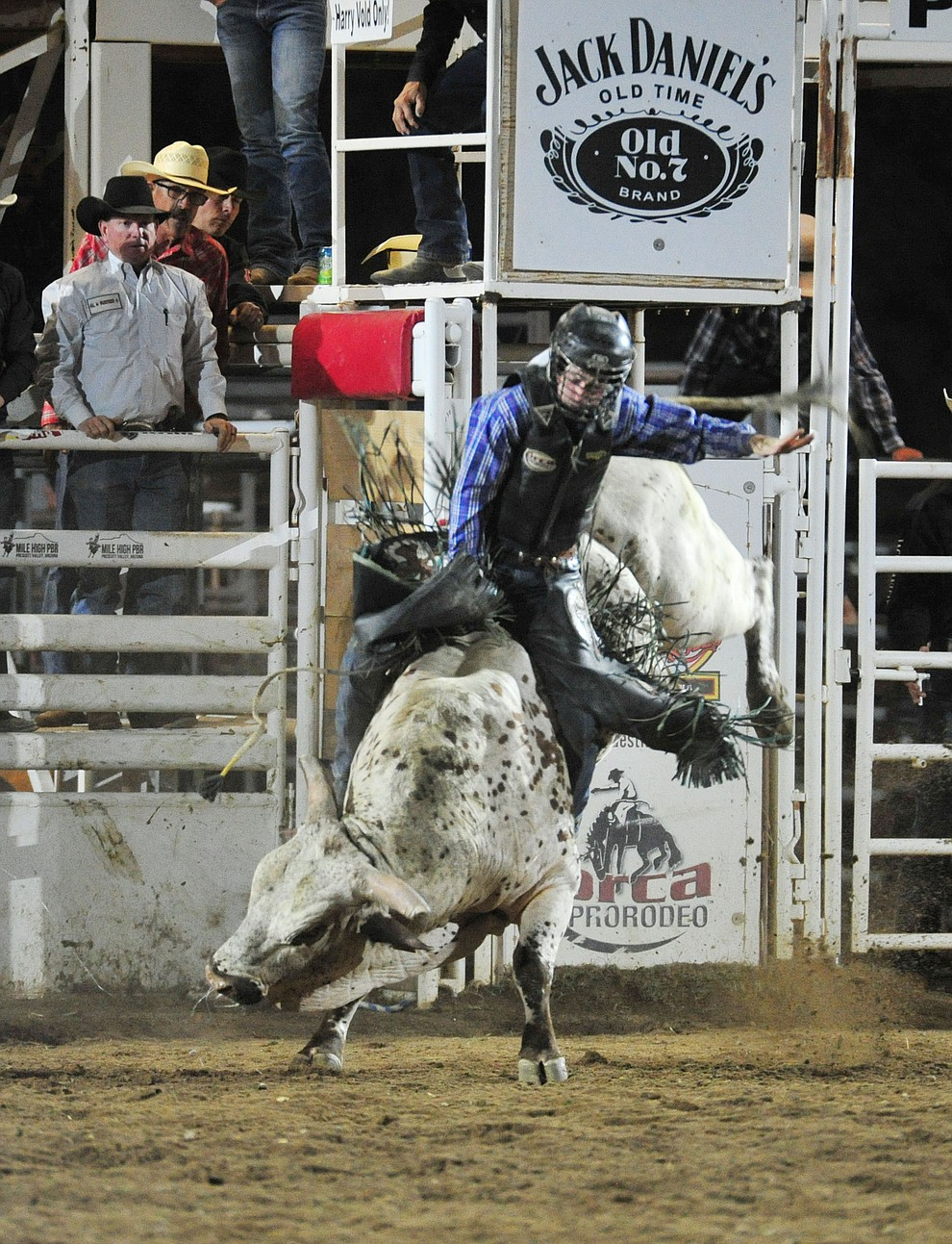 Porter McCown scores 87 on Foolish Dreams to take the lead in the bull riding during the 5th performance of the Prescott Frontier Days Rodeo at the Prescott Rodeo grounds Friday July 5, 2019.  (Les Stukenberg/Courier)