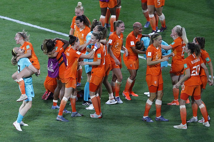 Netherlands players celebrate at the end of the Women's World Cup semifinal between the Netherlands and Sweden, at the Stade de Lyon outside Lyon, France, Wednesday, July 3, 2019. Netherlands won 1-0. (Francois Mori/AP)