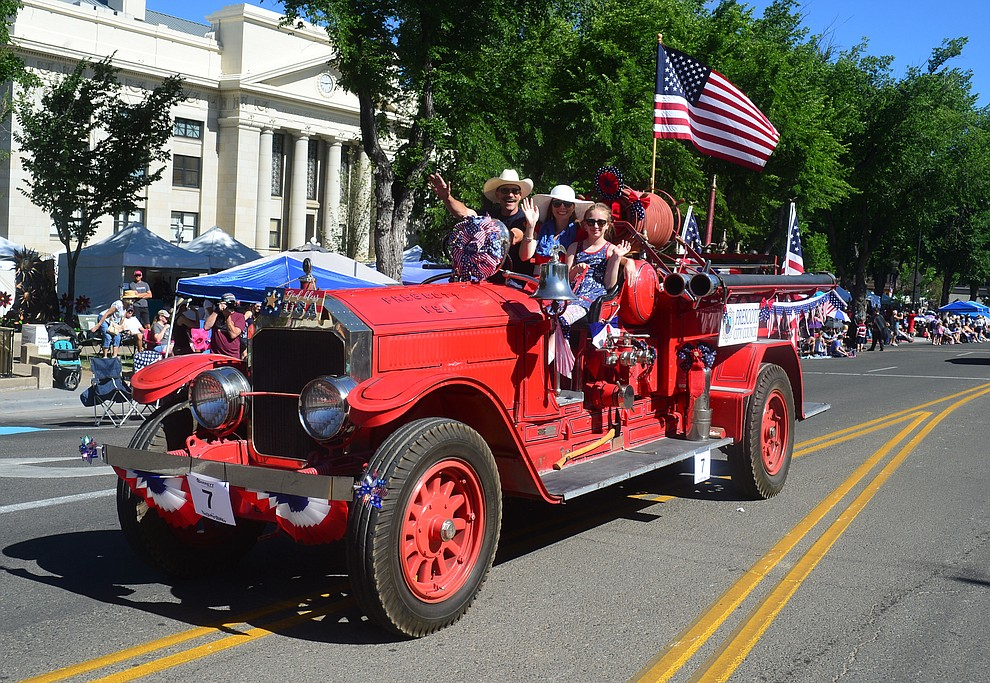 Prescott Fire Department Engine no. 1 during the Prescott Frontier Days Rodeo Parade through the streets of downtown Prescott Saturday July 6, 2019.  (Les Stukenberg/Courier)