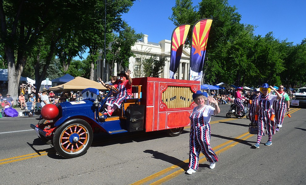 Arizona Public Service during the Prescott Frontier Days Rodeo Parade through the streets of downtown Prescott Saturday July 6, 2019.  (Les Stukenberg/Courier)