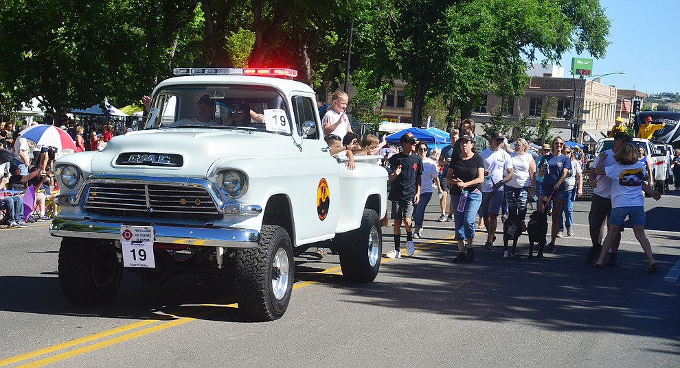 The Jesse Steed Memorial Project during the Prescott Frontier Days Rodeo Parade through the streets of downtown Prescott Saturday July 6, 2019.  (Les Stukenberg/Courier)