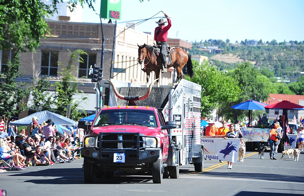 "John Payne ""the one armed bandit"" during the Prescott Frontier Days Rodeo Parade through the streets of downtown Prescott Saturday July 6, 2019.  (Les Stukenberg/Courier)"