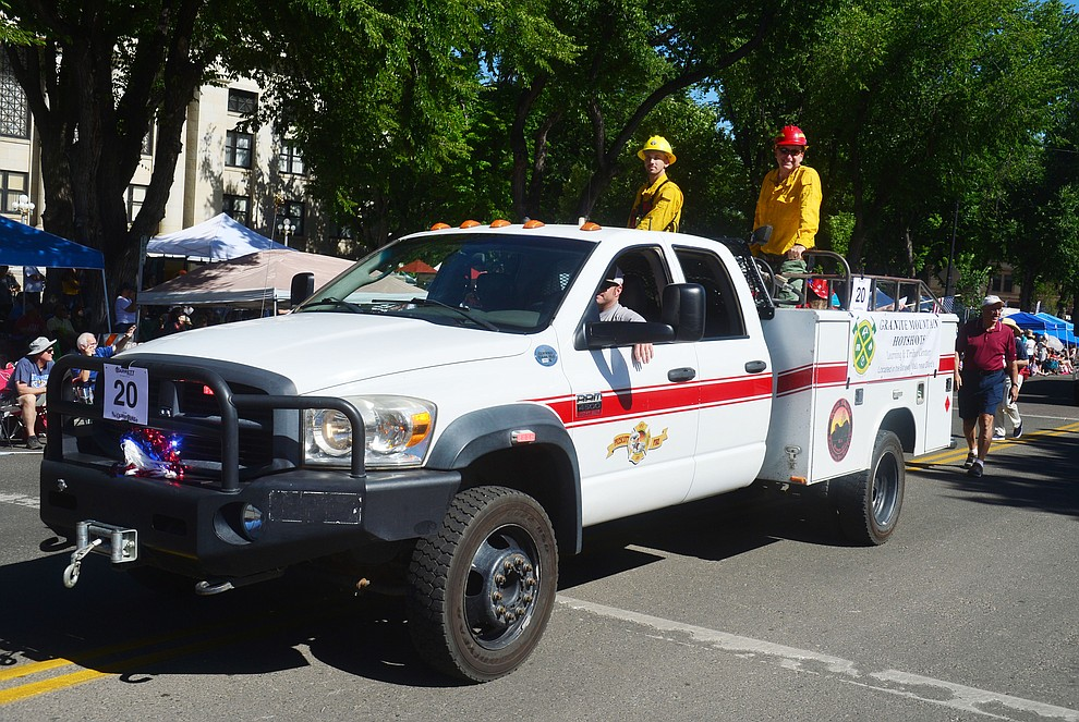 The Granite Mountain Hotshot's are remembered during the Prescott Frontier Days Rodeo Parade through the streets of downtown Prescott Saturday July 6, 2019.  (Les Stukenberg/Courier)