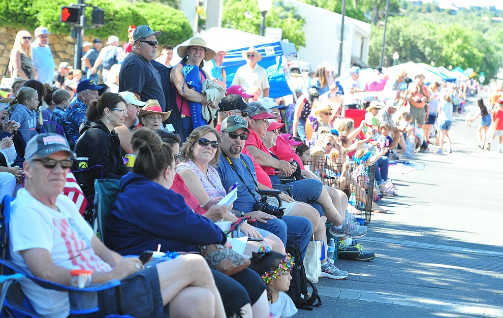 Huge crowds lined the street during the Prescott Frontier Days Rodeo Parade through the streets of downtown Prescott Saturday July 6, 2019.  (Les Stukenberg/Courier)